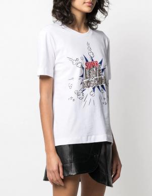 LOVE MOSCHINO sieviešu balts krekls dekorēts ar kristāliem