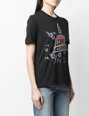 LOVE MOSCHINO sieviešu melns krekls dekorēts ar kristāliem