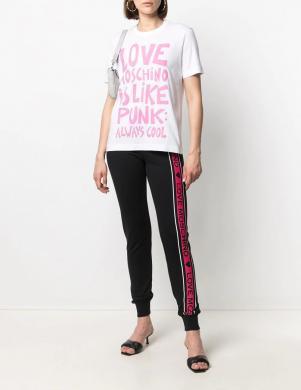 LOVE MOSCHINO sieviešu balts krekls ar rozā uzrakstu