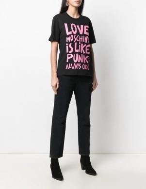 LOVE MOSCHINO sieviešu melns krekls ar rozā uzrakstu