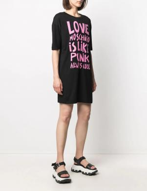 LOVE MOSCHINO melna īsa krekla tipa kleita ar rozā uzrakstu