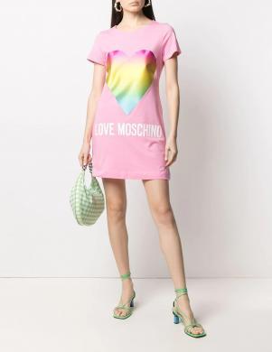 LOVE MOSCHINO rozā īsa krekla tipa kleita ar krāsainu sirdi