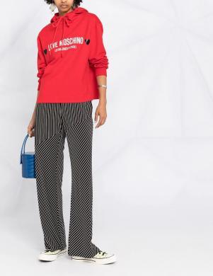 LOVE MOSCHINO sieviešu sarkans džemperis ar kapuci