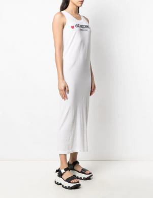 LOVE MOSCHINO balta gara kleita bez piedurknēm