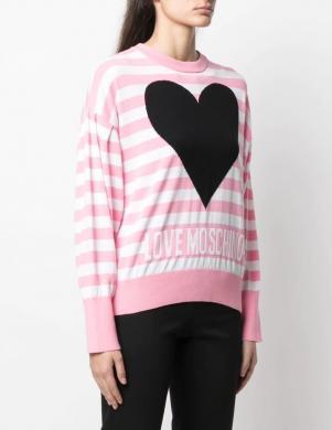 LOVE MOSCHINO sieviešu rozā svītrains džemperis ar sirdi