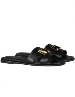MICHAEL KORS sieviešu melnas ādas čības - sandales KIPPY SLIDE