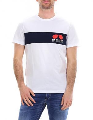 MICHAEL KORS vīriešu balts krekls ar zilu lenti un īsām piedurknēm