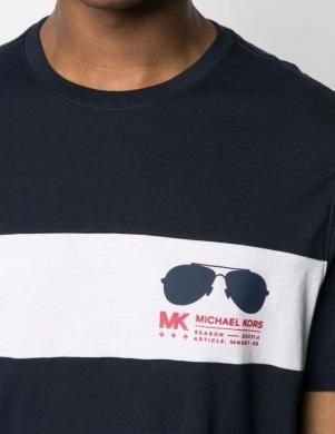 MICHAEL KORS vīriešu tumši zils krekls ar baltu lenti un īsām piedurknēm