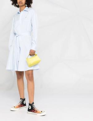 POLO RALPH LAUREN gaiši zila paplatināta krekla tipa kleita