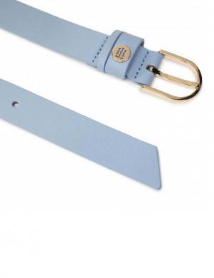 TOMMY HILFIGER sieviešu gaiši zila ādas josta ar zelta detaļām CLASSIC 2.5