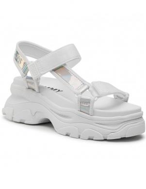 TOMMY JEANS sieviešu baltas sandales IRIDESCENT HYBRID SANDAL