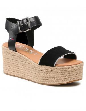 TOMMY JEANS sieviešu melnas sandales-espadrilles ESSENTIAL FLATFORM SANDAL