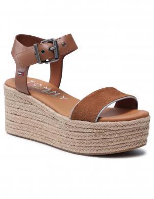 TOMMY JEANS sieviešu brūnas sandales-espadrilles ESSENTIAL FLATFORM SANDAL