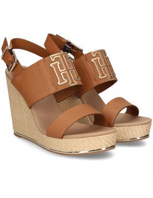 TOMMY HILFIGER sieviešu brūnas sandales TH ELASTIC HIGH WEDGE SANDAL