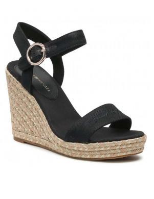 TOMMY HILFIGER sieviešu melnas sandales-espadrilles TH SIGNATURE HIGH WEDGE SANDAL