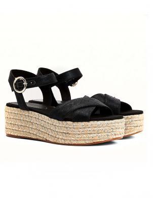 TOMMY HILFIGER sieviešu melnas sandales-espadrilles TH SIGNATURE FLATFORM SANDAL