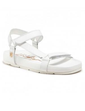 TOMMY HILFIGER sieviešu baltas sandales TH INTERLOCK FLAT SANDAL