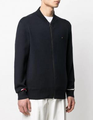TOMMY HILFIGER vīriešu tumši zils kokvilnas džemperis ar uzrakstu