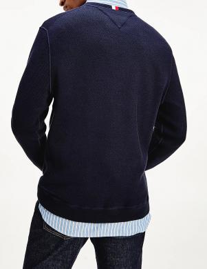 TOMMY HILFIGER vīriešu tumši zils džemperis ar logotipu