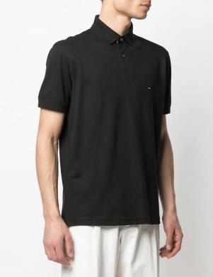 TOMMY HILFIGER vīriešu melns Polo tipa krekls ar īsām piedurknēm