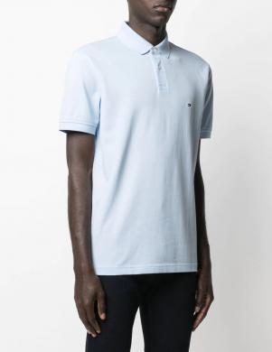 TOMMY HILFIGER vīriešu gaiši zils Polo tipa krekls ar īsām piedurknēm