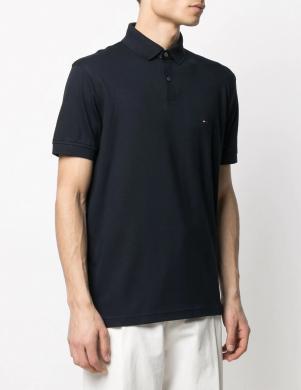 TOMMY HILFIGER vīriešu tumši zils Polo tipa krekls ar īsām piedurknēm
