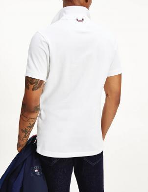TOMMY HILFIGER vīriešu balts Polo tipa krekls ar īsām piedurknēm