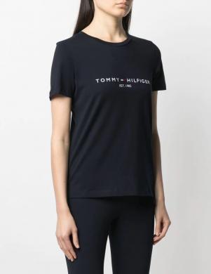 TOMMY HILFIGER sieviešu tumši zils krekls ar īsām piedurknēm