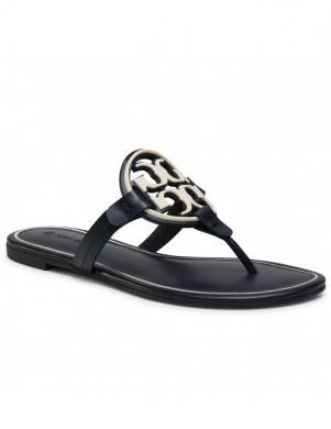TORY BURCH sieviešu tumši zilas čības sandales pār pirkstu MILLER