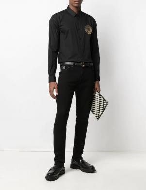 VERSACE JEANS COUTURE vīriešu melns krekls ar garām piedurknēm