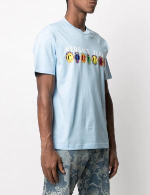VERSACE JEANS COUTURE vīriešu gaiši zils krekls ar īsām piedurknēm