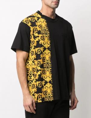 VERSACE JEANS COUTURE vīriešu melns krekls ar uzrakstu un īsām piedurknēm