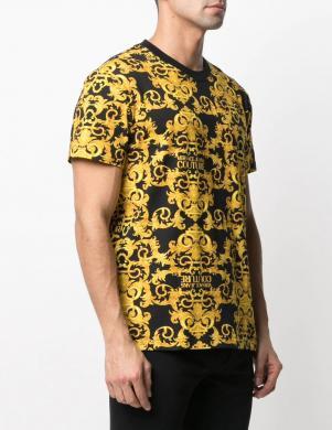 VERSACE JEANS COUTURE vīriešu melns - dzeltens krekls ar īsām piedurknēm