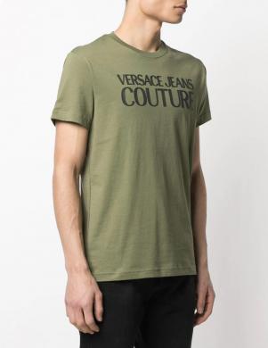 VERSACE JEANS COUTURE vīriešu tumši zaļš krekls ar īsām piedurknēm un uzrakstu