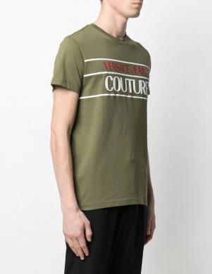 VERSACE JEANS COUTURE vīriešu tumši zaļš krekls ar īsām piedurknēm un krāsainu uzrakstu