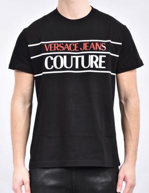 VERSACE JEANS COUTURE vīriešu melns krekls ar krāsainu uzrakstu