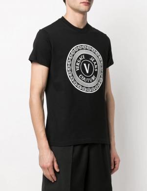 VERSACE JEANS COUTURE vīriešu melns krekls ar īsām piedurknēm