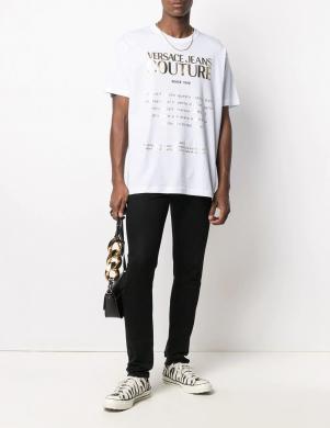 VERSACE JEANS COUTURE vīriešu balts krekls ar īsām piedurknēm un uzrakstu