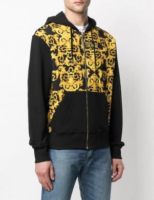 VERSACE JEANS COUTURE vīriešu melns - dzeltens džemperis ar uzrakstu un kapuci