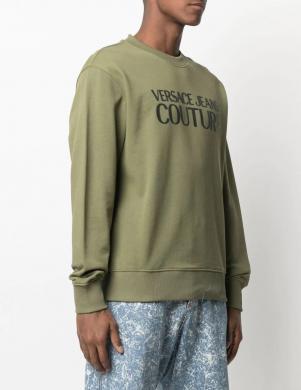 VERSACE JEANS COUTURE vīriešu tumši zaļš džemperis ar uzrakstu