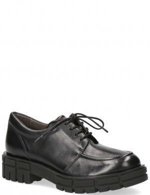 CAPRICE sieviešu melni ādas ar biezu zoli apavi