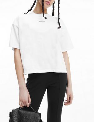 CALVIN KLEIN JEANS sieviešu balts kokvilnas krekls