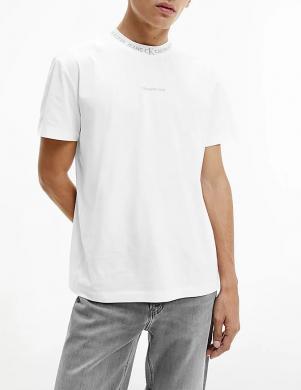 CALVIN KLEIN JEANS vīriešu balts kokvilnas krekls