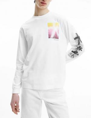 CALVIN KLEIN JEANS vīriešu balts kokvilnas krekls ar garām piedurknēm