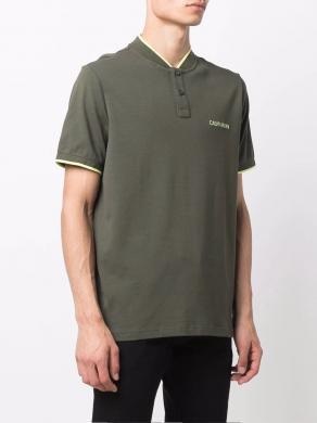 CALVIN KLEIN vīriešu zaļš polo tipa krekls ar īsām piedurknēm