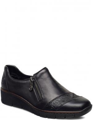 RIEKER sieviešu melni ādas ikdienas apavi ar platformu