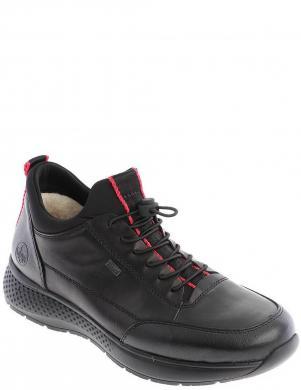 RIEKER vīriešu melni ādas ikdienas apavi-zābaki ar vilnu