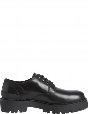 TOMMY JEANS vīriešu melni ādas klasiski apavi CHUNKY TOMMY JEANS S