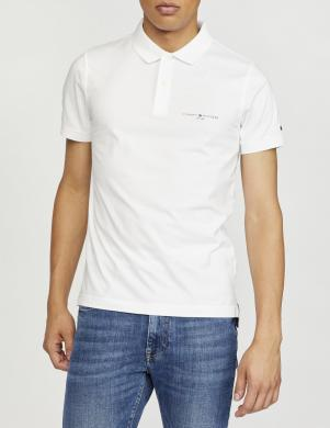 TOMMY HILFIGER vīriešu balts polo tipa kokvilnas krekls