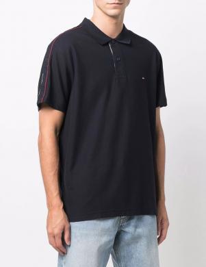 TOMMY HILFIGER vīriešu tumši zils polo tipa kokvilnas krekls